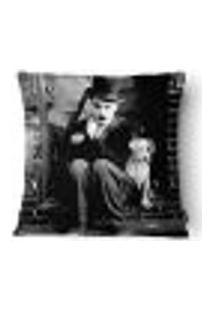 Capa Para Almofada Charlie Chaplin Poliéster 43X43Cm Branco