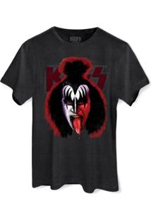 Camiseta Premium Bandup Kiss Gene Simmons Blood Chumbo