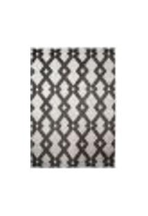 Tapete Geometric Retangular Poliéster (200X250) Branco E Preto