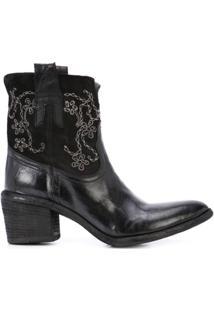 Fauzian Jeunesse Ankle Boot Com Bordado - Preto