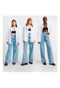 Calça Wide Leg Jeans Com Pregas Frontais E Barra Desfiada
