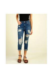 Calça Jeans Feminina Destroyed Capri Marisa