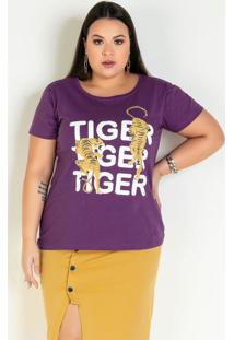 Blusa Roxa Com Estampa Frontal Plus Size