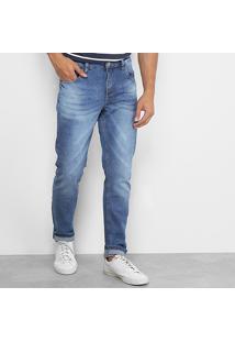 Calça Jeans Slim Rockblue Estonada Masculina - Masculino-Azul