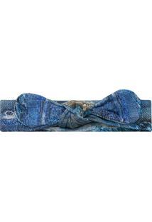 Faixa De Cabelo Em Lycra Laço Destroyed Blue - Letiti Ltt Fx01 Faixa Avulsa Amy Un