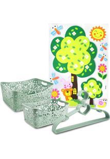 Conjunto Cesto Organizador Retangular 2 Peças E Cabide C/ 5 Pçs Lifestyle E Adesivo Para Criança Jacki Design Verde