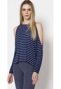 Blusa Listrada Com Vazados - Azul & Pretacalvin Klein