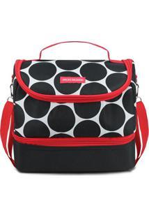 Bolsa Térmica Com Divisória- Preta & Vermelha- 19,5Xjacki Design
