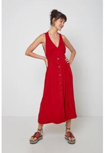Vestido Oh, Boy! Botão Frente Red Hot - Feminino-Vermelho