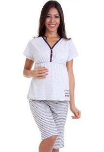 Pijama Luna Cuore Feminino Gestante Capri Manga Curta 6008 - Feminino