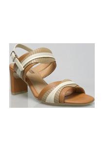 Sandália Salto Comfortflex 1856404 Confortável Caramelo