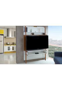 Painel De Tv Para Quarto Branco Com Freijó - Painel De Parede Tv Até 60 Polegadas Karl Woodinn - 134X25,5X180 Cm