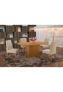 Conjunto De Mesa De Jantar Com 6 Cadeiras E Tampo De Madeira Maciça Arezo Suede Imbuia Rustic E Creme