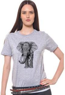 Camiseta Joss Básica Elefante Feminina - Feminino-Cinza