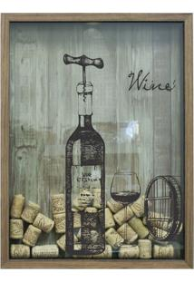 Quadro Porta Rolhas 32X42X4Cm Wine Natural