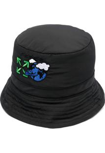 Off-White Chapéu Bucket Com Logo Bordado - Preto
