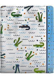 Cobertor Incomfral Ursinho Para Bebê 90Cm X 1.10M Branco/Azul - Kanui