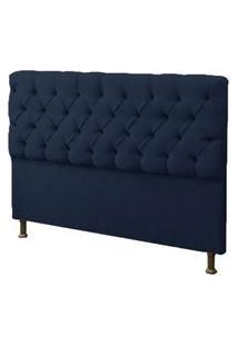 Cabeceira Casal Super King 195Cm Para Cama Box Sofia Suede Azul Marinho - Ds Móveis