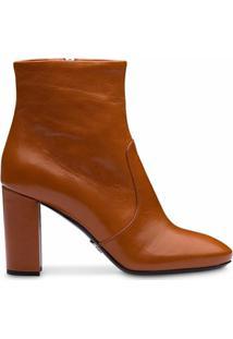 Prada Ankle Boot Com Salto Grosso - Marrom