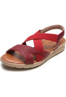 Sandália Couro Usaflex Tiras Elásticas Vermelha