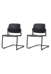 Kit 2 Cadeiras Leaf Base Fixa Preta - 57400 Preto