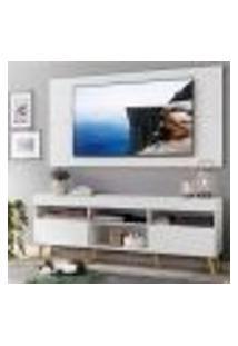 """Rack Com Painel Tv 65"""" Londres Multimóveis Pés Retrô E 2 Portas Branco/Natural"""