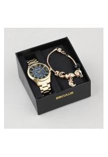 Kit De Relógio Analógico Seculus Feminino + Pulseira - 23621Lpsvds1K Dourado