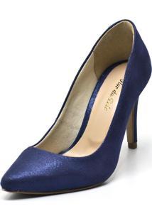 Sapato Scarpin Salto Alto Fino Em Cetim Azul - Kanui
