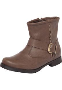 Bota Cano Curto Foot Way Fivelas Marrom-Claro