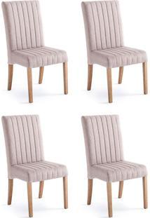 Conjunto Com 4 Cadeiras De Jantar Joice I Cinza E Castanho
