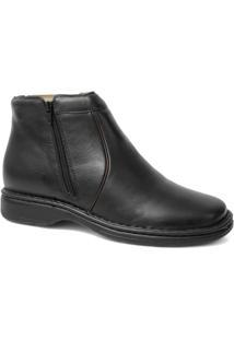 Botina Anti-Stress Em Couro Riber Shoes Com Ziper - Masculino-Preto