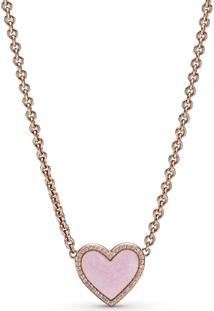 Colar Coração Rosa Espiral Pandora Rose™ - 50 Cm