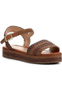 Sandália Shoestock Flatform Trança Feminina - Feminino-Caramelo