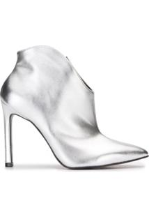 Ankle Amaro Boot Salto Fino Alto Metalizado - Feminino