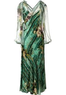 Alberta Ferretti Vestido Floral Abstrato - Verde