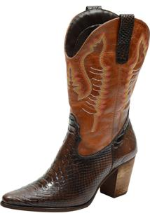 Bota Texana Atron Shoes Cobra 2614 Café E Fossil Caramelo