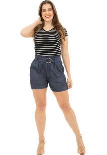 Shorts Clochard Catwalk Plus Size Cw19-5477Co Azul - Kanui