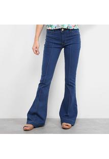 e7de5629b ... Calça Jeans Flare Coffe Vincos Cintura Média Feminina - Feminino-Jeans