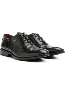 Sapato Social Couro Jorge Bischoff Brogue Masculino - Masculino-Preto