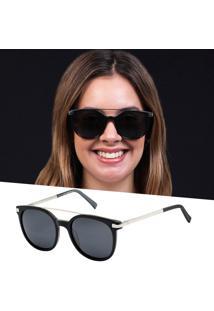 Óculos De Sol Feminino Preto Acetato Lente Polarizada Uv 400