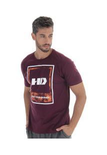 Camiseta Hd Watercolor Leaves - Masculina - Vinho