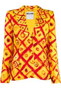 Moschino Blazer Com Estampa Xadrez - Amarelo