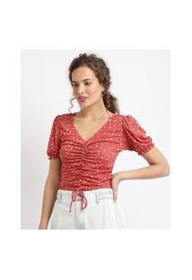 Blusa Feminina Estampada Floral Com Franzido Manga Curta Bufante Decote V Vermelha