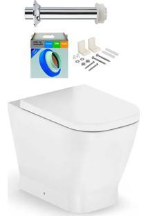 Kit Bacia Sanitária Convencional Com Assento Gap Blanco Matte + Conjunto De Fixação, Tubo De Ligação E Anel De Vedação - Roca - Roca
