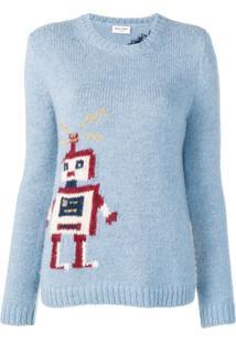 Saint Laurent Suéter Com Estampa De Robô - Azul