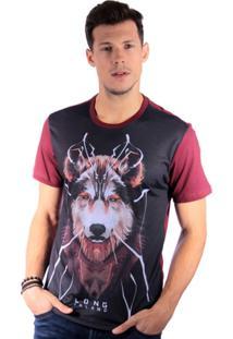 Camiseta Long Island Lobo Masculina - Masculino-Bordô