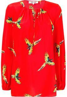 Diane Von Furstenberg Blusa De Seda Estampada - Vermelho