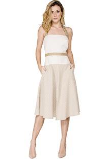 c0b6fa70aa ... Vestido Evasê Print Listrado Alphorria - Feminino-Bege
