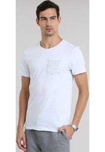 Camiseta Botonê Com Bolso De Tachas Off White