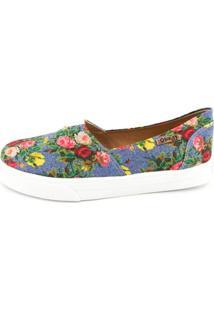 Tênis Slip On Quality Shoes Jeans Floral Feminino - Feminino-Azul